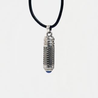 Talisman din argint Izad cu lapis lazuli și șnur de piele, India