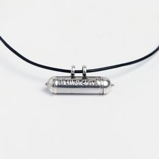 Talisman din argint Om Mani Padme Hum cu șnur de piele, Nepal