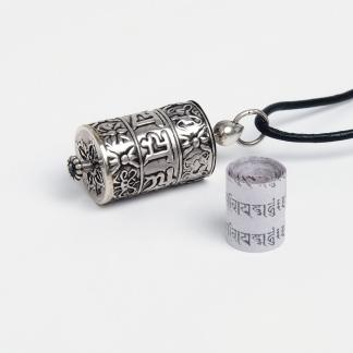 Talisman din argint Roată de Rugăciune tibetană cu șnur de piele, Nepal